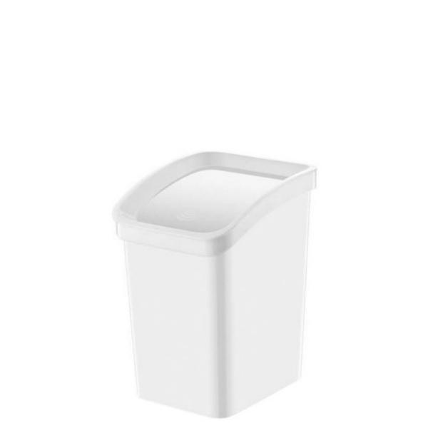 Кош с люлеещ капак -Бял 12 литра