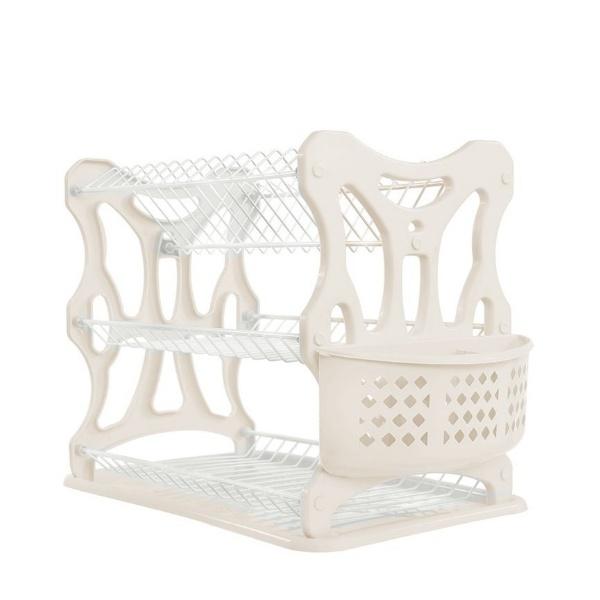 Пластмасов сушилник за чинии бял с крем