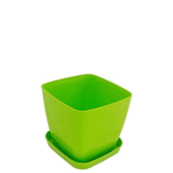 Саксия ФЛОРА 12 см Х 12 см зелена