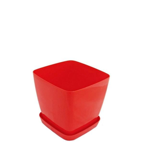 Саксия ФЛОРА 12 см Х 12 см червена