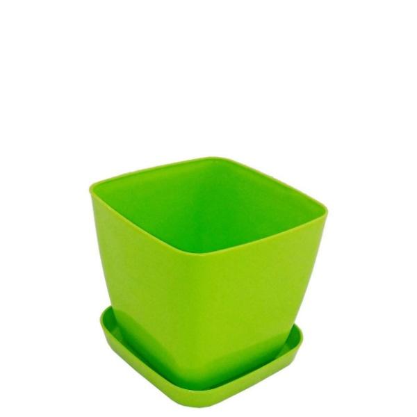 Саксия ФЛОРА 16 см Х 16 см зелена