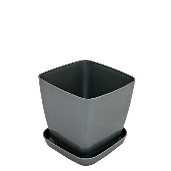 Саксия ФЛОРА 20 см Х 20 см сив металик