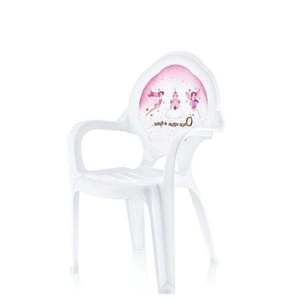 Бяло пластмасово столче с декор