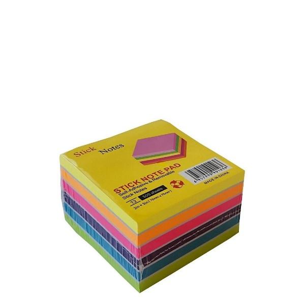 Лепящи цветни листчета 500 броя - Неон 6 цвята