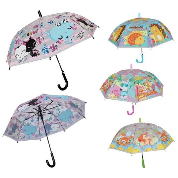 Детски прозрачен чадър с принт