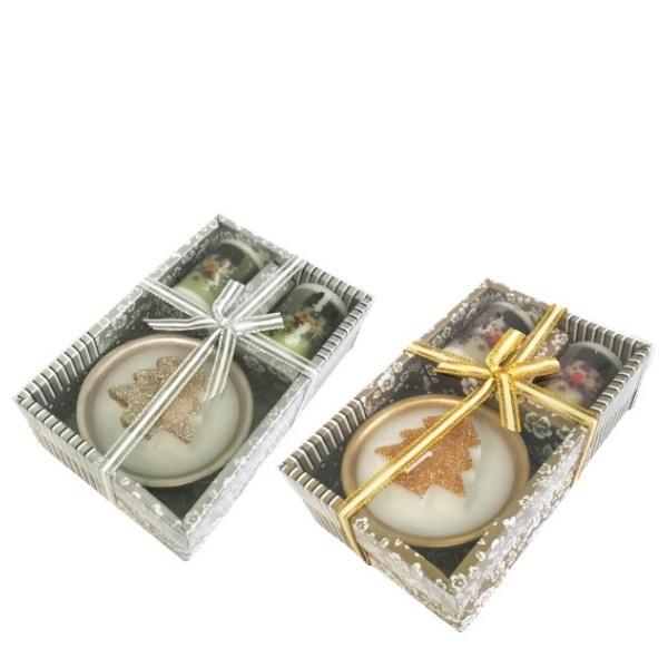 Коледен комплект 2 бр свещи Снежко + свещ Елха