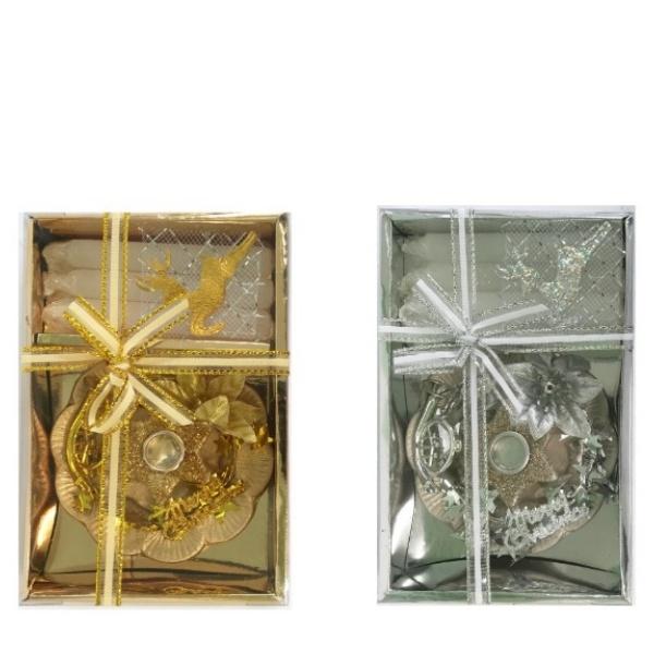 Коледен комплект мини свещник+ 3 конусни свещи