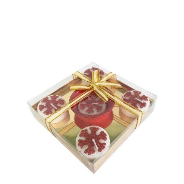 Коледен комплект свещи снежинки+ свещник 6ч.
