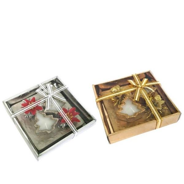 Коледен комплект 2 бр свещи Елха с поставка
