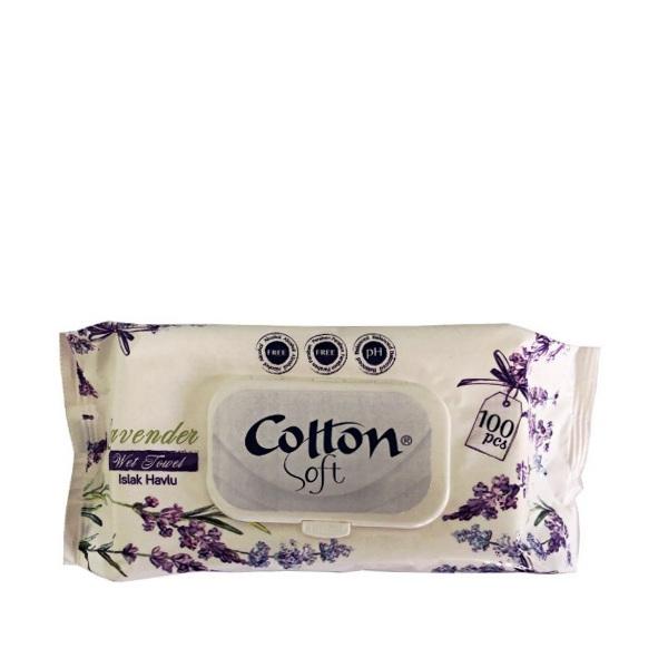 Влажни кърпички COTTON SOFT Лавандула 100 бр