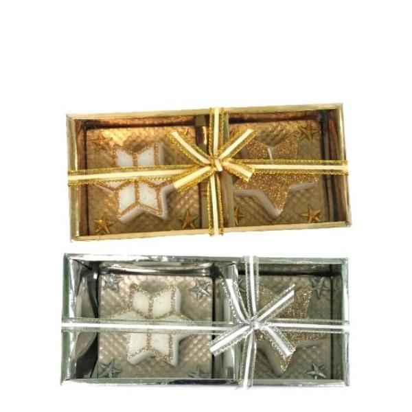 Коледен комплект свещи с поставки 2 бр