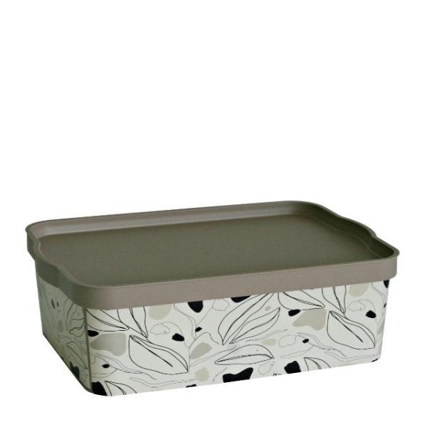 Кутия за съхранение 14 литра - Флорал Беж