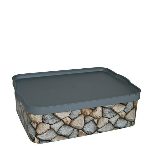 Кутия за съхранение 14 литра - Камъни
